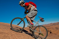 MOAB UT, OCTOBER 28: Mountain bikers enjoying an early ride on t