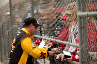 FONTANA, CA - MAR 22: Brendan Gaughan with fans at the Nascar Na