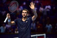 BASEL, SWITZERLAND - OCT 29: Marin Cilic wins the semifinals vs