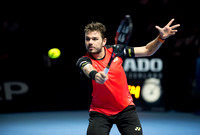 BASEL, SWITZERLAND - OCT 27: Stan Wawrinka in action vs Donald Y