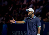 BASEL, SWITZERLAND - OCT 27: Donald Young unhappy with a call at