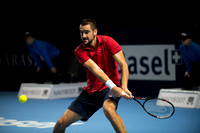 BASEL, SWITZERLAND - OCT 27: Marin Cilic in action vs Pablo Carr
