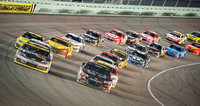 MIAMI, FL - Nov 16: Denny Hamlin (left) leading at the Nascar Sp
